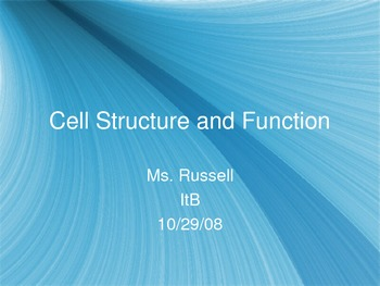Cell Organelle PowerPoint Lecture Presentation