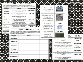 Cell Organelle Sort Cut & Paste w/ Cell City Application Sort- Differentiated!