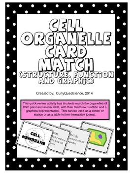 Cell Organelle Structure and Function Card Match