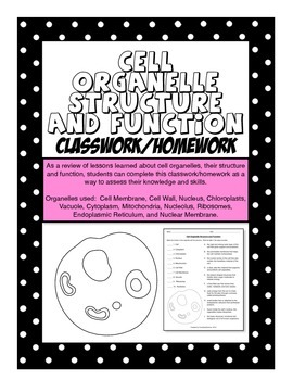 Cell Organelle Structure and Function Homework