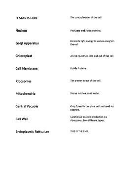 Cell Organelle Vocabulary Latter