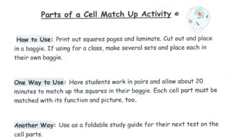 Cell Organelle and Parts Matching Activity