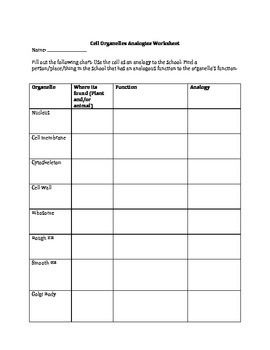 Cell Organelles Analogy Worksheet