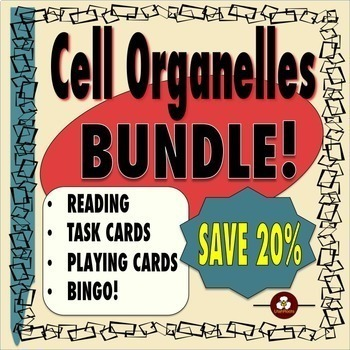 Cell Organelles Bundle: Reading, Task Cards, Playing Cards and Bingo