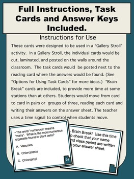 Cell Organelles Reading, Task Cards, & Quizzes