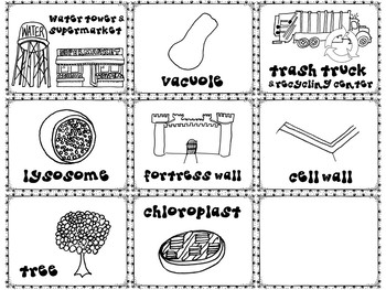 Cell Organelles Memory Matching Game : City Analogy Structure and Function