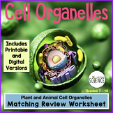 Cell Organelles Matching Worksheet