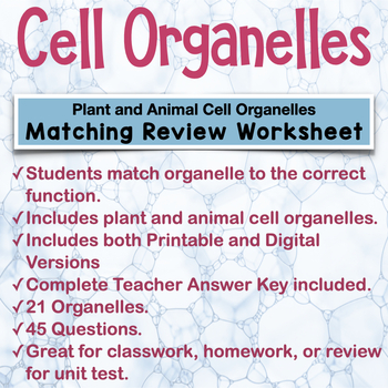 Cell Organelles Matching Worksheet By Amy Brown Science Tpt