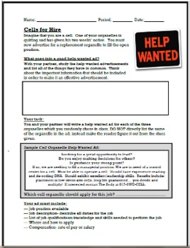 Cell Organelles and Functions: Cells for Hire Want Ads