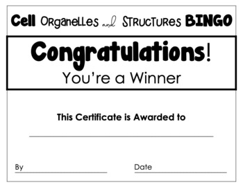 Cell Organelles And Structures Bingo Review Game By