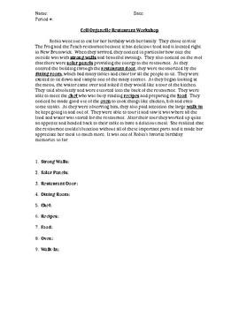 Cell Organelles like Restaurant parts Worksheet