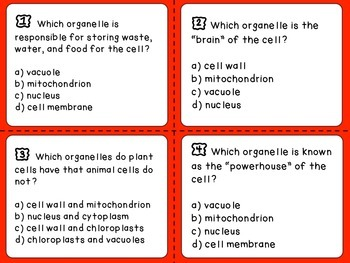 Cell Part Task Cards