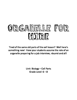 Cell Parts - Organelle for HIRE
