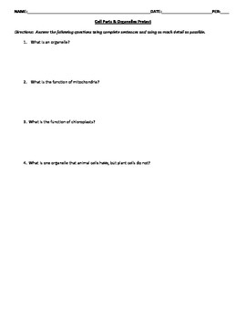 Cell Parts & Organelles 4 Version Quiz