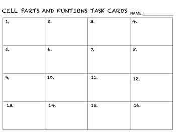 Cell Parts and Functions Task Cards