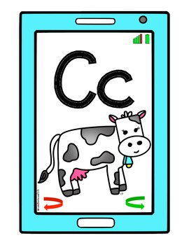 Cell Phone Alphabet Posters, Cards, Flashcards, and Alphabet Chart