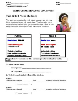 Cell Phone Challenge - System of Linear Equations Applications