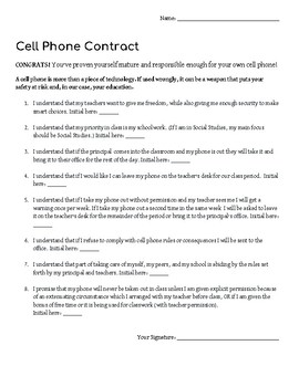 graphic relating to Printable Cell Phone Contract for Tweens identified as Cellular Cell phone Agreement Worksheets Training Supplies TpT
