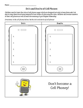 Cell Phone Do's and Don'ts: digital citizenship, manners, respect
