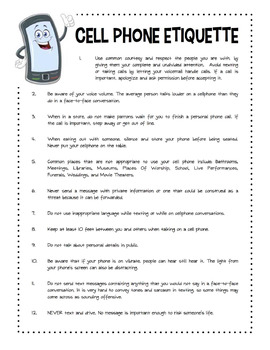 Cell Phone Etiquette Worksheet Packet