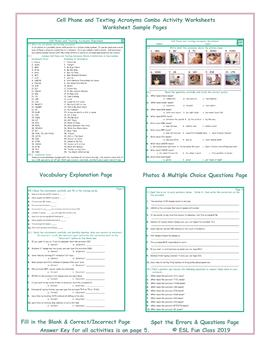 Cell Phone and Texting Acronyms Combo Activity Worksheets
