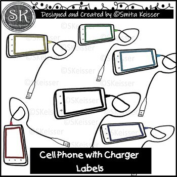 Cell Phone with Charger Labels Clip Art (Smita Keisser Clip Art)