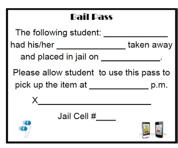 Cell Phone/Headphones/Toy Bail Slip