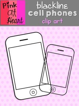 Cell Phones Clip Art - Blackline