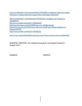 Cell Phones - Helpful or Harmful Essay Outline + Links