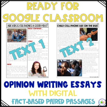 Cell Phones Paired Texts: Writing On-Demand Opinion Argumentative Essay Editable