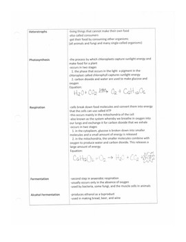 Cell Processes Notes Outline with Fill-in