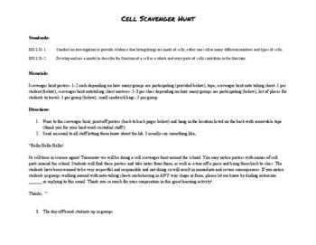 Cell School Scavenger Hunt