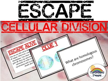 Science Cell Division Biology Escape Review Task Card Game Activity