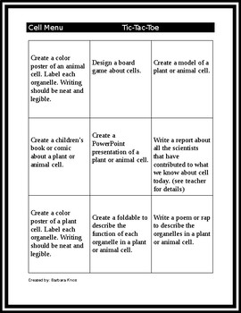 Cell Science Tic Tac Toe Choice Board
