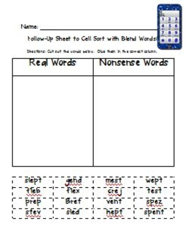 Cell Sort!  A Differentiated Orton-Gillingham Inspired Short e Word Game