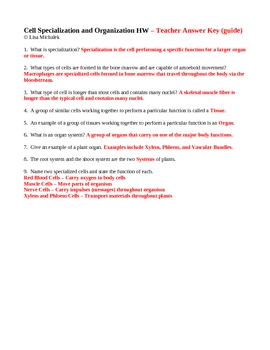 Cell Specialization and Organization Homework Assignment
