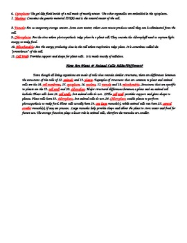 Cell Structure & Function Study Guide or Guided Notes