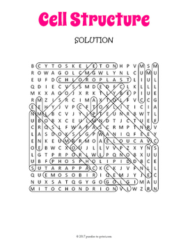 Cell Structure Word Search Puzzle