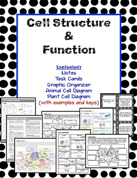 Cell Structure and Function Article, Task Cards, Diagrams, Graphic Organizer
