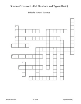 Crossword Puzzle: Cell Structure and Types (Basic)