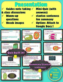 Cell Structures/Organelles Lesson (presentation, notes, and activity)