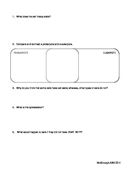 Cell Structures graphic organizer, prokaryote, eukaryote