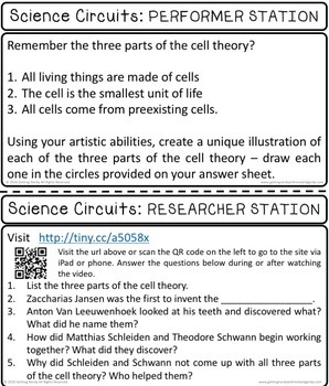 The Cell Theory -  Science Centers / Lab Stations for Cell Studies