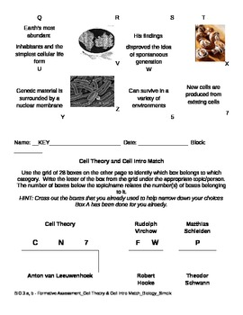 Cell Theory & Cell Intro Match Game
