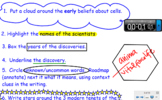 Cell Theory Close Read and Timeline SmartBoard Presentation