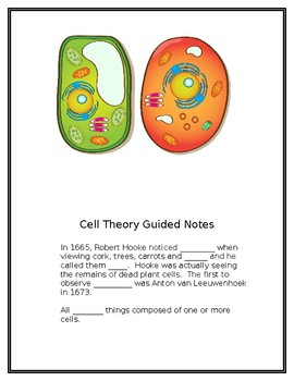 Cell Theory Guided Notes/The Cell is Like a Factory Guided Notes