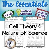 Cell Theory & Nature of Science Goals & Scales, Essential Questions & Vocab