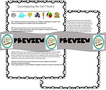 Parts of the Cell Theory Pyramid Foldable