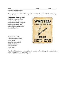 "Cell Theory ""Wanted"" Poster"