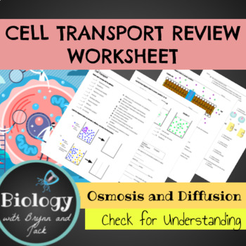 Cell Transport Practice Worksheet by Biology with Brynn and Jack